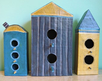 Clever Houses For Imaginary Birds-Set Two, Paper Mache, Decorative Birdhouse Set