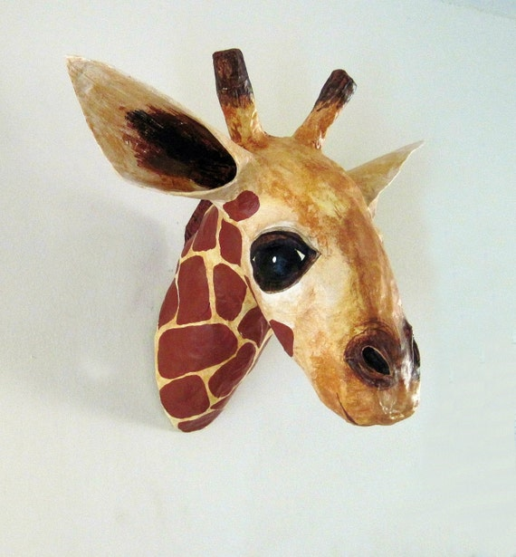 Paper Mache Giraffe Head, Giraffe Faux Taxidermy, Giraffe Tropy Head, Made to Order