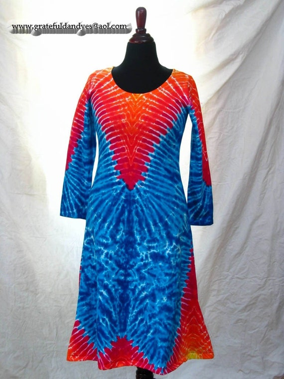 This is now RESERVED for Nealio and Lana - Medium Mid Calf Playdress with Long Sleeves and Tie Dyed Design by GratefulDan