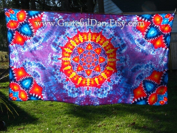 RESERVED for Sue Clark - Tie Dye Mandala Tapestry by GratefulDan  (48 inches x 85 inches) Ready to Ship