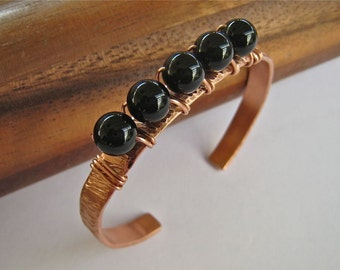 Stamped cooper cuff BRACELET ~ Black Onyx Beaded gemstone ~ Is wearing copper good for your health ~ stack them or wear by themselves