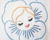 hand embroidered pillowcase - vintage pansy girl