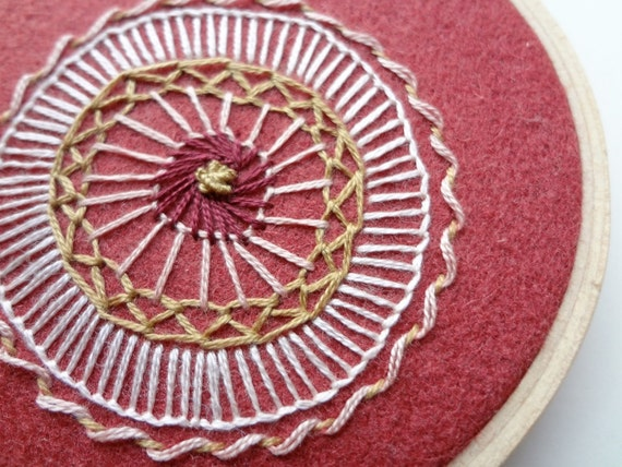 hand embroidered hoop art - freeform flower in 3 inch hoop by bo betsy - free shipping