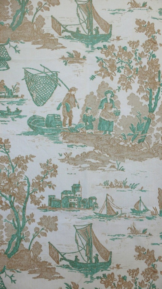 RESERVED for antique2chic Fisherman Toile Fabric