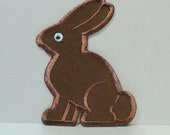 Chocolate Bunny Patch Embroidered Applique-100204