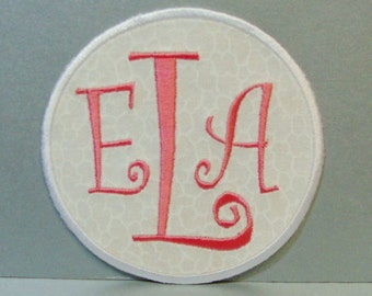 Monogram Initials Ring- Embroidered Applique-100161