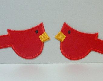 Primitive Cardinals Set of (2) Embroidered Applique -100167