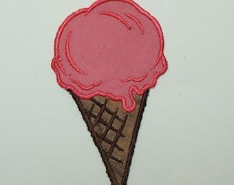 Strawberry Ice Cream Cone  Embroidered  Applique 100032