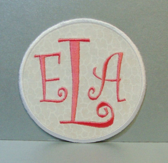 Monogram Initials Ring Embroidered Applique100161