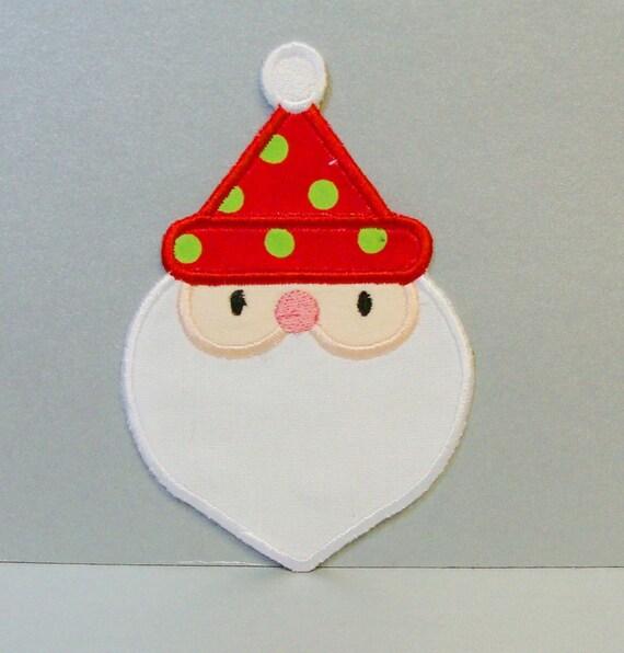 Santa claus face embroidered applique