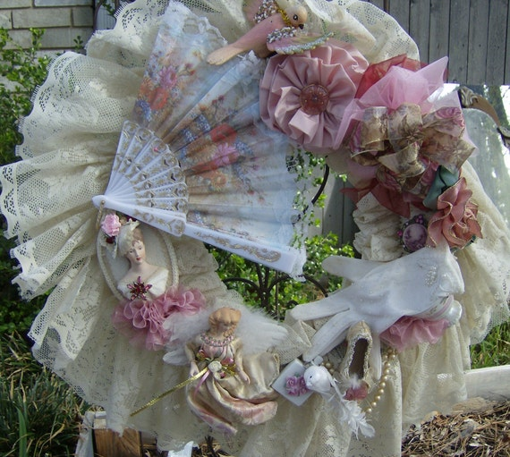 vintage victorian shabby chic style tea cup lace wreath. Black Bedroom Furniture Sets. Home Design Ideas