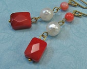 coral and faceted pearl earrings