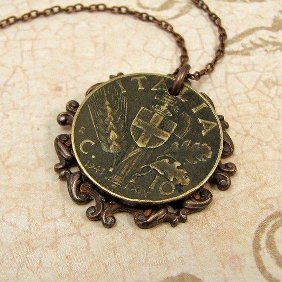 italian coin necklace lire coin necklace with by adornmentsnyc