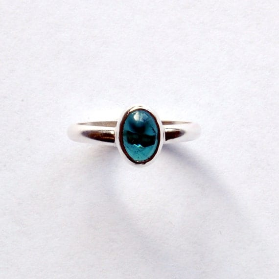 Silver Tourmaline Ring with Rare Teal Cabochon Size 6 1/2