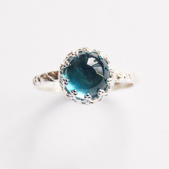 Blue Topaz Cabochon Ring Set in Silver In Your Size