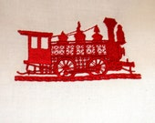 Redwork Square - Train  Car - Free Shipping