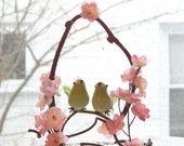 Wedding Cake Topper - Pink Cherry Blossoms with Bird Bride and Groom