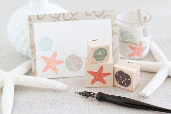 Beach Rubber Stamp Set - Sand Dollar Starfish Seashell - Handcrafted Wood Mounted - Great for Destination Weddings and Travel Scrapbooks