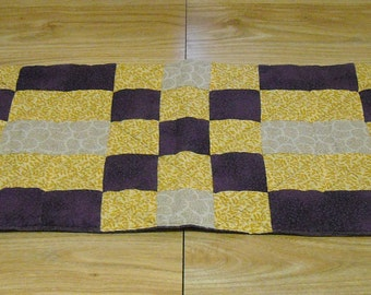 Yellow/Purple/Tan quilted table runner