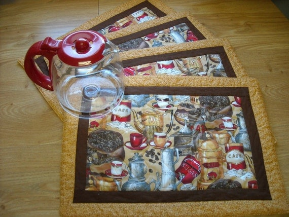Coffee Lovers Quilted Place Mats