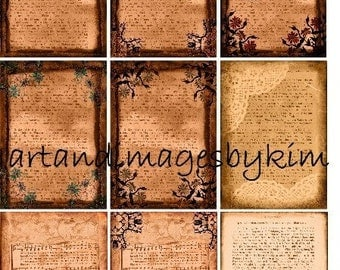8052 Grunge Stained Backgrounds Digital Collage Sheet ACEO ATC Altered art mixed media
