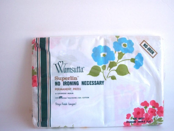 SALE Vintage Standard Double Flat sheet in original packaging - no iron