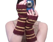 Gryffindor Gloves- Harry Potter Inspired Long Hand Knit Fingerless Gloves - MADE TO ORDER