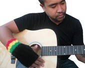 Rasta Fingerless Gloves - Hand knit black unisex gloves with green, yellow, and red stripes - MADE TO ORDER