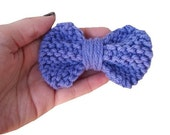 Purple Knit Bow - Hand Knitted Snap Clip Hair Bow