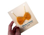 Knit Bow Necklace - hand knitted mustard yellow bow on gold chain