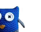 Knit Owl Plush - stuffed animal in blue, gray, and yellow