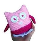 Pink Owl Plush Toy - Hand Knit in hot pink, pastel pink, and glittering white