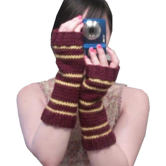 Gryffindor Gloves- Harry Potter Inspired Long Hand Knit Fingerless Gloves - MADE TO ORDER