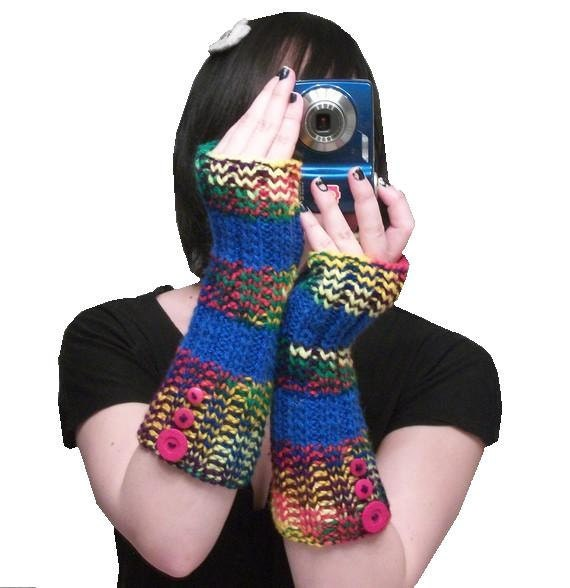 long rainbow fingerless gloves - Color Me - hand knit in rainbow and blue stripes - SALE