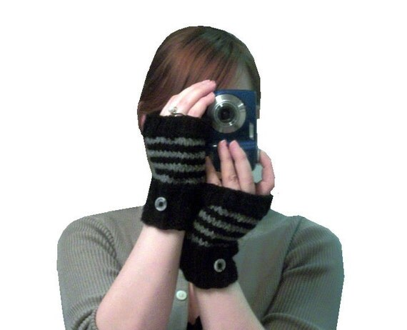 Black Fingerless Gloves - Hand knit with grey stripes
