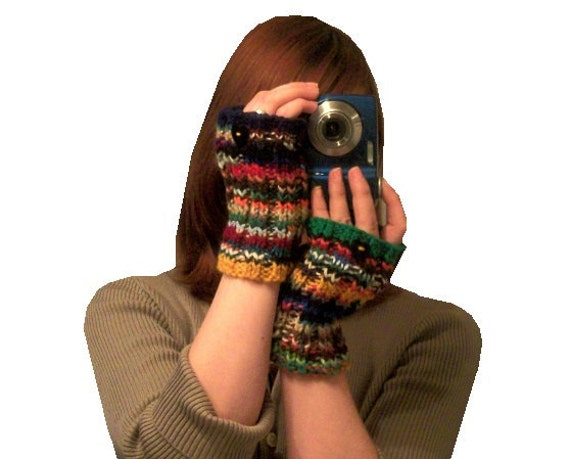 colorful fingerless gloves - My Fickle Heart - hand knit with yarn scraps OOAK Upcycle
