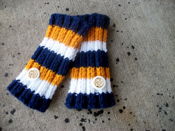 Striped Fingerless Gloves - hand knit in navy blue, mustard yellow, and off white