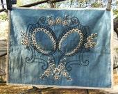 Vintage antique decorative textile blue silk
