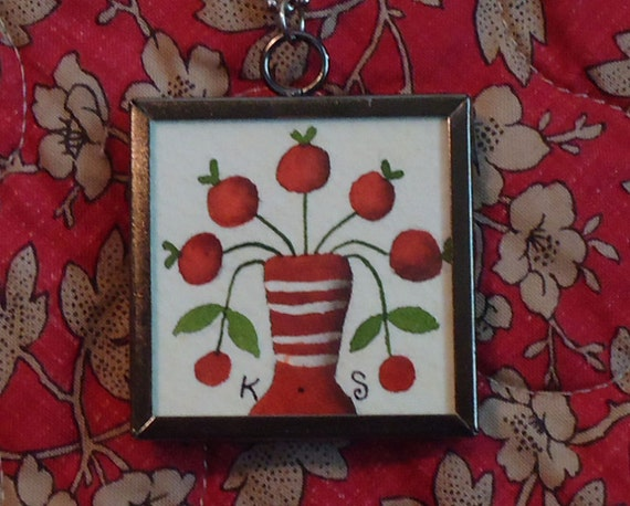 original artwork pendant necklace -  primitive berry bouquet OP-1202