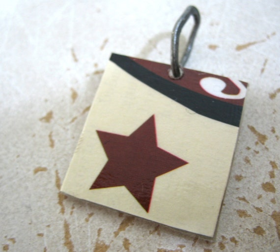 Star, Star Pendant, Lone Star Burgundy Pendant Necklace, Recycled Jewelry, RECYCLEry Upcycled Eco Friendly