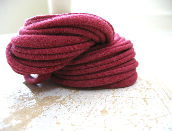Raspberry Red Scarf, Handmade Jersey Fabric Scarf Necklace Accessory, Recycled Upcycled Eco Friendly CLAMORED