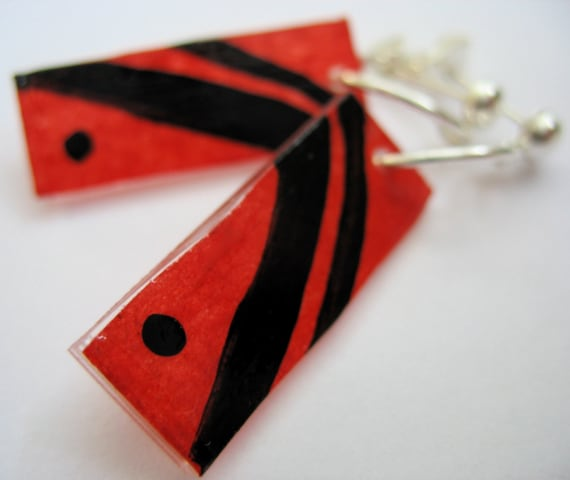 Black Stripes Red RECYCELry Upcycled Eco Friendly Earrings
