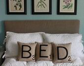 BED Scrabble Pillows - CASES ONLY // Scrabble Tile Pillows // Letter Pillow Cushions