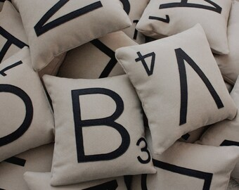 1 Scrabble Letter Pillow WITH INSERT // Scrabble Tile Pillow // Letter Pillow Cushion