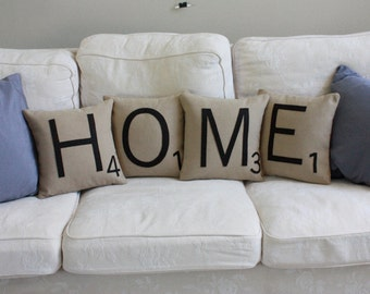 HOME Scrabble Pillows - CASES ONLY // Scrabble Tile Pillows // Letter Pillow Cushions