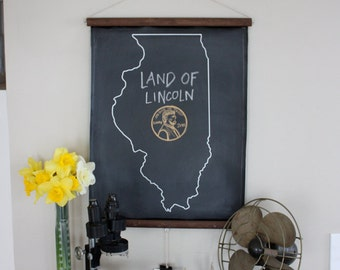 Chalkboard State Maps // Custom State Map Art // 50 states // Illinois // Indiana // Idaho // Iowa // Kansas // Michigan // California