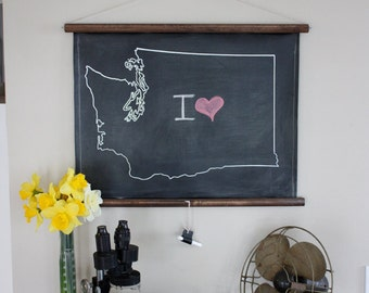 Chalkboard State Maps // Custom State Map Decor // 50 states // Washington // West Virginia // Wisconsin // Wyoming // Vermont // Utah
