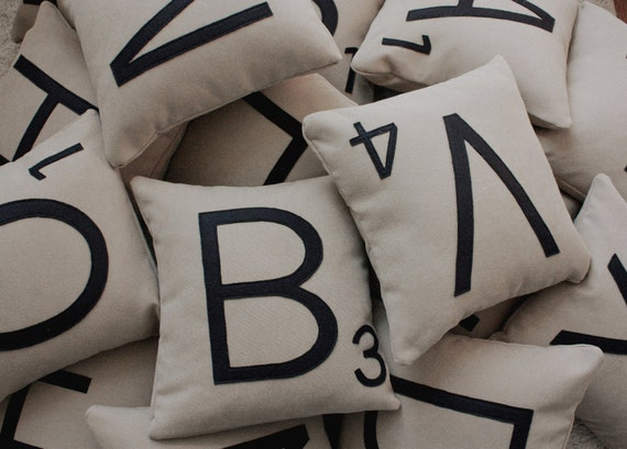 1 Scrabble Letter Pillow CASE ONLY // Scrabble by dirtsastudio