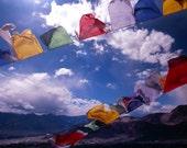 Tibetan Prayer Flags - Ladakh II - 5x7 print in 8x10 mat, fine art photograph, buddhist wall art