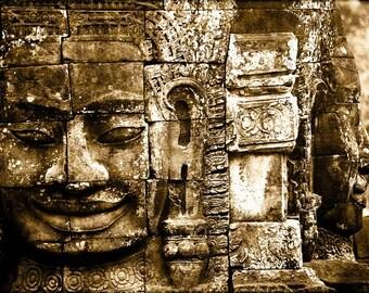 Bayon II - vintage look photograph, 5x7 print in 8x10 mat, angkor photography, angkor print, buddhist art